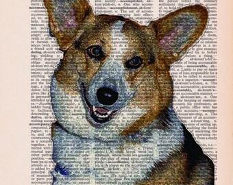 Dictionary Print: Corgi Dog Print, Dog Art, Wall Decor, Recycled Dictionary Paper ZRP8108