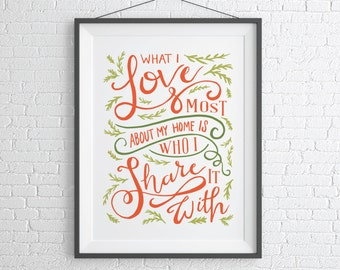 Family Art Print / Quote Poster / Wedding Gift Print
