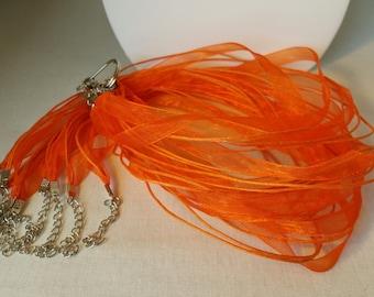 10 Orange Organza Ribbon and Cotton Cord Necklaces