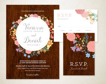 woodgrain and flowers wedding invitation, multicolor – DYI, print at home, or professionally printed