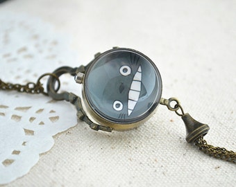 Totoro Pocket Watch,Anime My neighbour totoro pendent Necklace,Double sides ball pocket watch necklace,tassel jewelry (HB007)