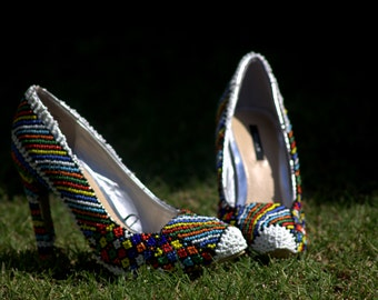 Hand beaded shoes size 38