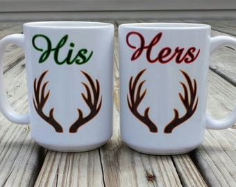 His and Hers Antlers mugs