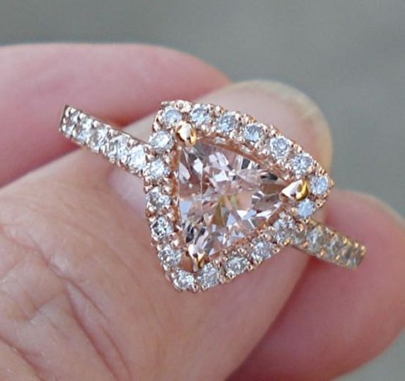 Trillion Cut Morganite Rose Gold Diamond Halo Ring 14K Pink
