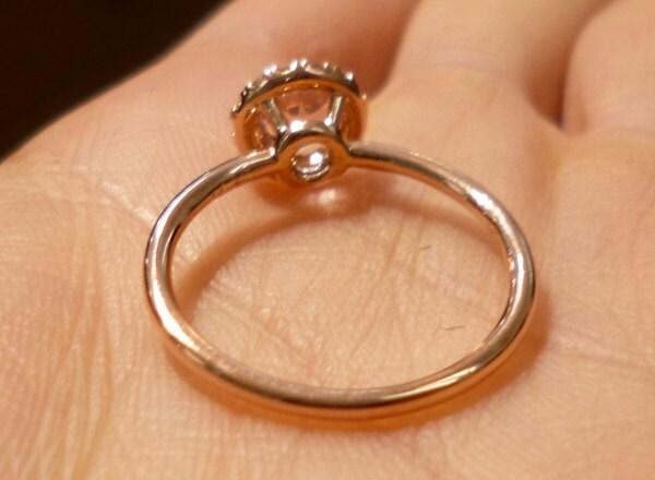 Round Rose Gold Morganite Ring Diamond Halo 14k Pink Gold Simple