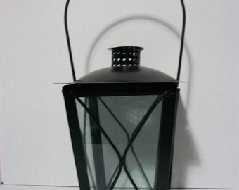 Vintage Large Pagoda Style Glass Metal Coach Light Lantern Candle Holder