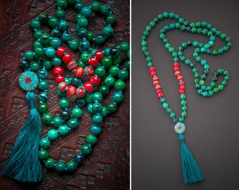 KATHMANDU MALA necklace with silk tassel and NEPALESE beads / Yoga Necklace