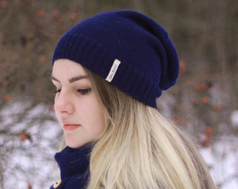 Alpaca women hat navy dark blue knit slouchy beanie adults knitted hat
