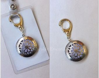 Essential Oil Diffuser for Badge, Silver, 32mm or 27mm