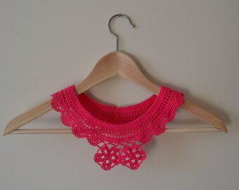 Cotton Crochet Pink Collar with Flower, Lace Collar, Pink Crochet Necklace, Summer Fashion, Women Accessories