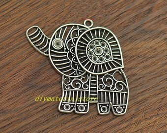 5 - Large Hollow Elephant Charm, Pierced Elephant Pendant, Antique Silver, DIY Supplies, Jewelry Making, Findings, 53x45mm