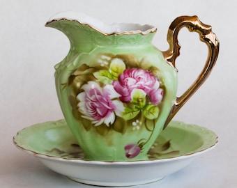 Vintage Handpainted Decorative Floral Pitcher and Bowl- Lefton China 4172