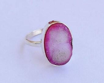 Druzy Ring, Stone Ring, Pink Druzy Stone ring, 925 sterling silver ring, Druzy Jewellry, Druzy Silver ring, Druzy, Sterling Silver ring,