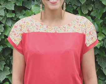 Shirt Jersey short sleeve top top blouse cotton viscose fit shirt MARA floral mustard-yellow-vermilion