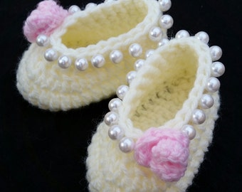 baby girl crochet shoes ballerina slippers baby ballerina shoes baby girl shoes elegant handmade baby gift photo prop ivory pink pearls