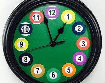 Unique BILLIARD POOL ball Novelty Wall Clock