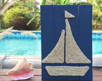 Handmade Sailboat with Rope Beach Pallet Art