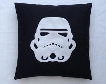 Stormtrooper - Black White Star Wars Design Retro Pillow Cushion Cover Novelty Boys Room Felt Applique Playroom Small Large 14 x 14 20 x 20