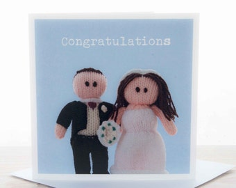 Wedding card - Knitted bride and groom 'Congratulations' card