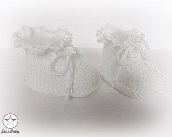 Baby Knitted Booties, Christening Booties, Lacy Booties, Hand Knit Booties, White Baby Booties