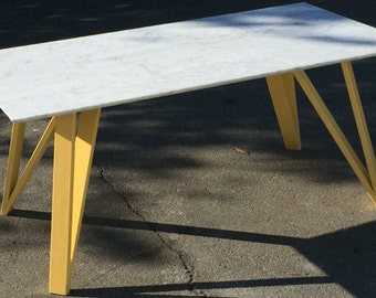 Yellow Steel Base with Carrera Marble Top