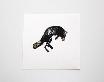 Block print - Fox  (Polka-dot gold ink)