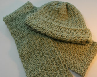 Sage Green Crocheted Scarf & Hat