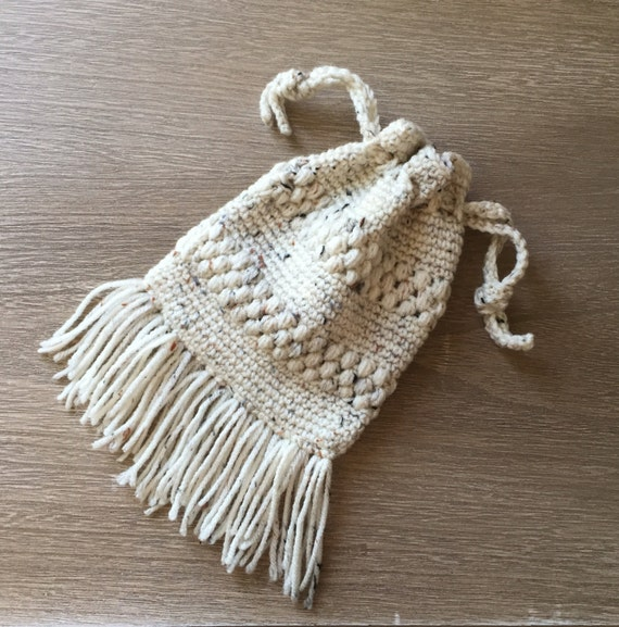 Crochet Fringe Bag : ... fringe crochet bag, small drawstring bag, bohemian crochet bag, makeup