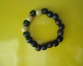 Black, Beige, Green Wooden Bracelet