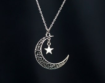 Moon and Star necklace, mother day jewelry gift, black friday SALE
