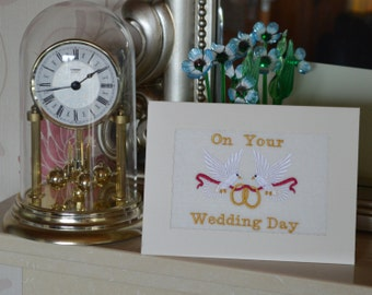 Machine embroidered  hand finished Wedding Congratulations card -  2 doves with wedding rings