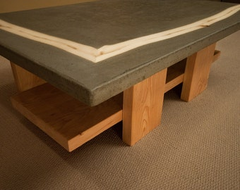 Concrete kitchen dining table with aspen tree inlays for Concrete kitchen table