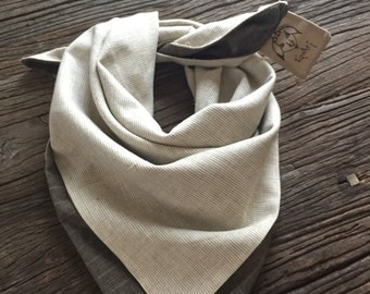 """Double Triangle Scarf in Cream and """"Greige"""" Pinstripes"""