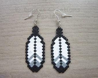 Feather Aztec Mario Earrings jewelry, perler hama bead, 8-bit pixel art geek, girl woman child, handmade