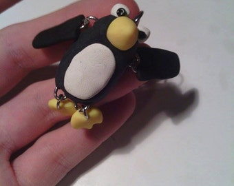 sculpy clay Punguin Keychain