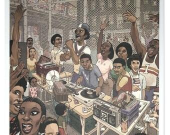 Block Party Lithograph Print Old school park jam New York Dan Lish HipHop series