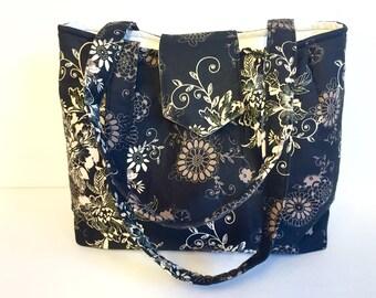 Floral Pattern in Black, Cream, Taupe Handmade Purse, Tote Bag, Handbag