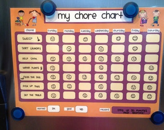 Daily/Weekly Kids Dry-Erase Fridge Chore Chart- Regular or Personalized