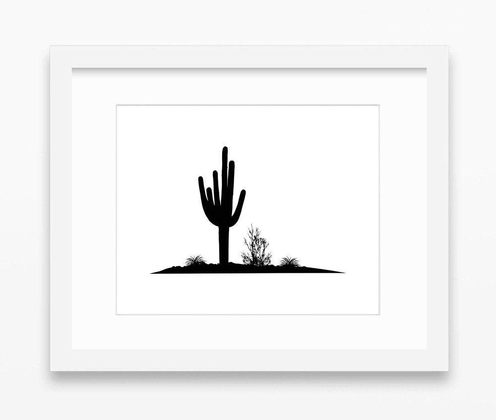 Western Landscape Silhouette Desert Landscape Silhouette