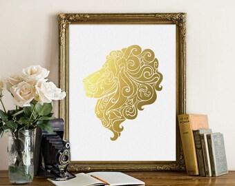 Gold lion print, Gold foil print, Lion wall art, Lion poster, Nursery decor