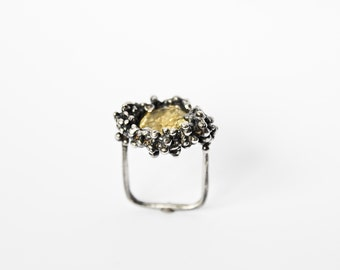 "Unusual Oxidized Silver Ring ""Primordial"" with Citrine"