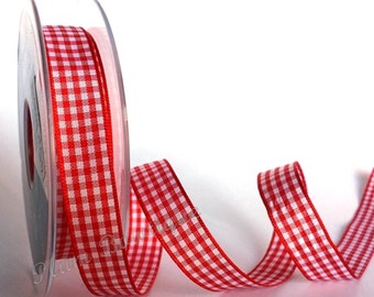 Red & White 15mm Gingham Ribbon by Berisfords x 1mtr
