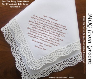 Mother of the Groom Gift Handkerchief From Groom 0818 Sign & Date Free!  5 MOG Wedding Hankerchief Styles and 8 Ink Colors. Printed Hankies