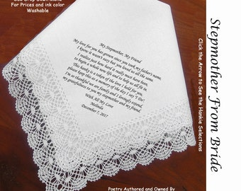 Stepmother of the Bride or Groom Gift Wedding Hankie & Poem 0401 Sign and Date Free!   5 Wedding Hankie Styles and 8 Ink Colors.