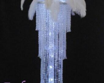 "46"" Exquisite Chandelier Deluxe Ostrich Top Centerpiece Wedding & Special Occasion Centerpiece"