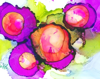 "Alcohol Ink Art on Yupo by Yolanda Koh-Purple Passion-pink, purple, green, blue, 7"" x 5"""