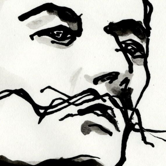 Art Noir Et Blanc Portrait Original Dessin Dali Portrait