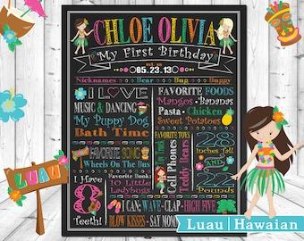 Luau Hawaiian Flowers Hula Dance ChalkBoard Wall Art Baby 1st Birthday Poster Chalk Board, Wallart Custom Personalized