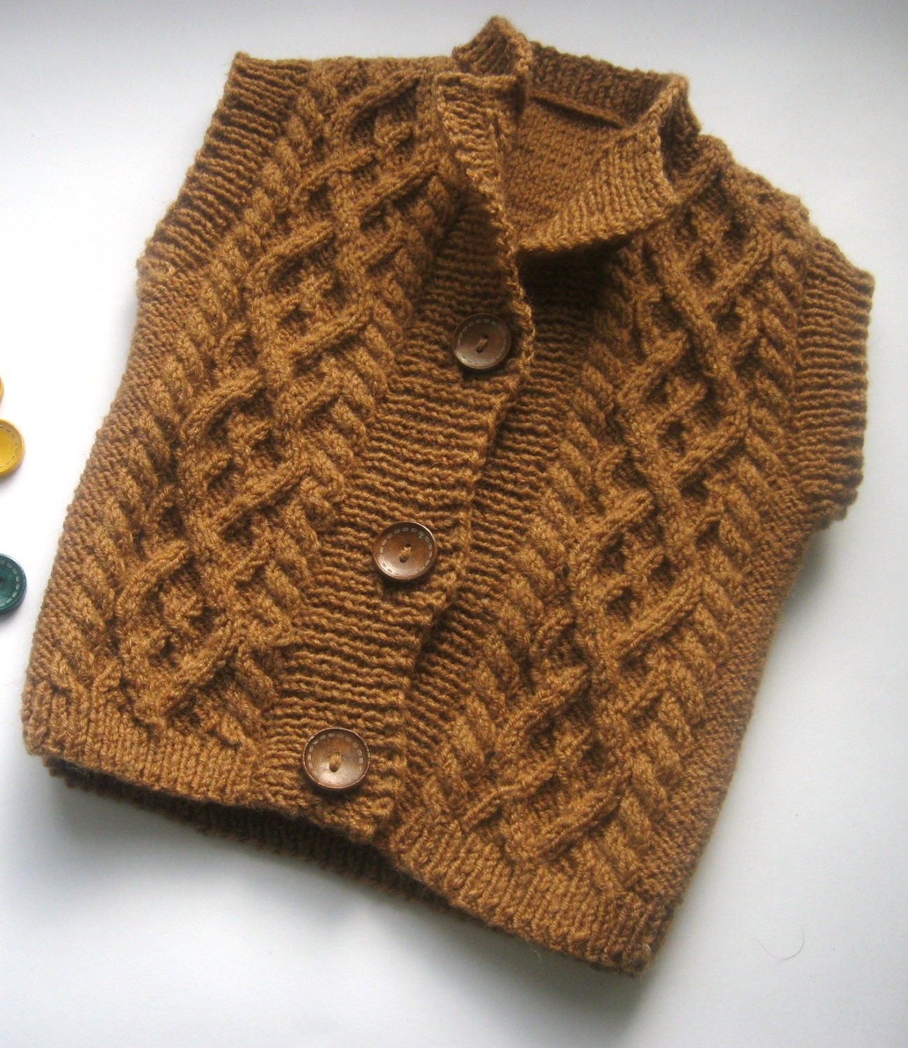 Knitted Baby Vest Pattern : Hand knit baby vest Brown baby vest Knitting baby by GaidukCreate