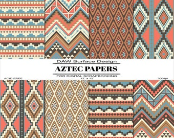 Aztec Digital Scrapbooking Papers, Repeat Patterns, Printable Paper, Instant Download
